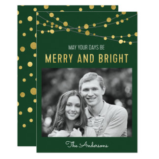 Faux Gold Green Merry & Bright Lights Photo Card