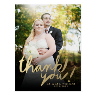 Faux Gold Hand Script Photo Thank You Postcard