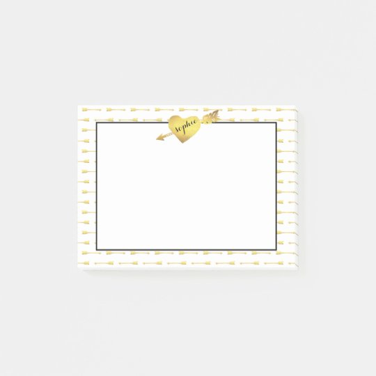 Faux Gold Heart & Arrow Personalised Post-it® Notes