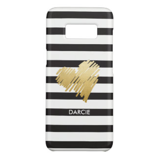 Faux Gold Heart Black White Striped Personalized Case-Mate Samsung Galaxy S8 Case