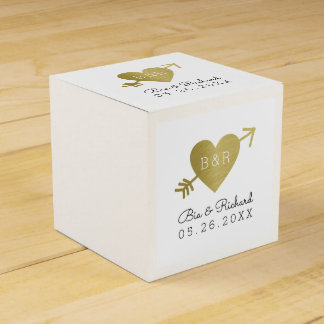 faux gold heart of love favour box
