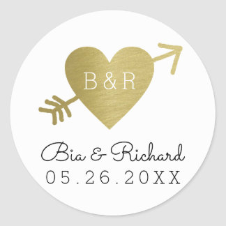 faux gold heart of love round sticker