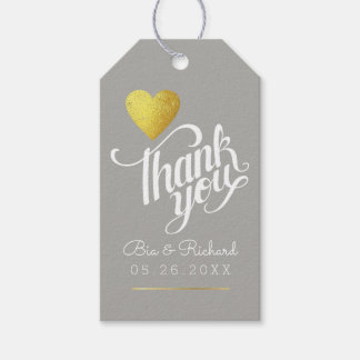 faux gold heart of love, thank you gray wed gift tags