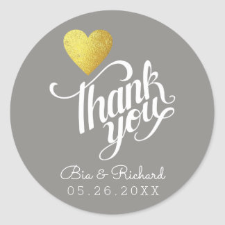 faux gold heart of love, 'thank you' gray wed round sticker