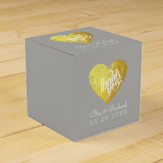 faux gold heart of love, 'thank you' wedding favour box