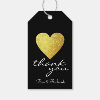 faux gold heart of love, thank you weddings gift tags