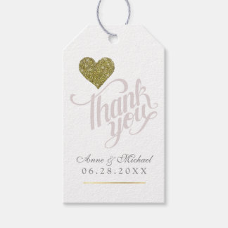 faux gold heart of love, thanks wed favors gift tags