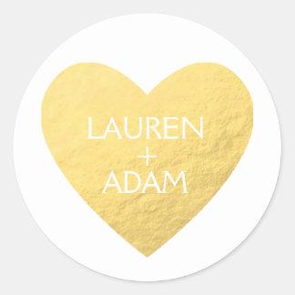 Faux gold heart wedding sticker custom names