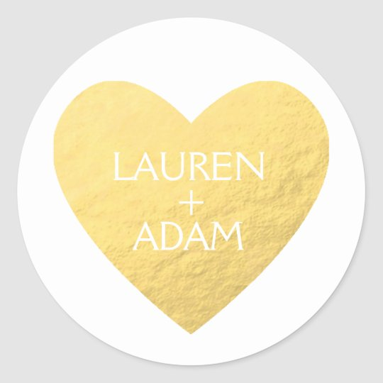 Faux gold heart wedding sticker custom names