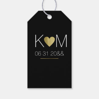 faux gold heart with couple initials, black gift tags
