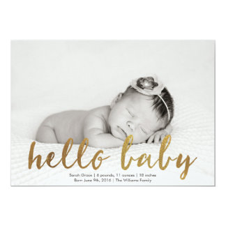 Faux Gold Hello Baby Photo Birth Announcement