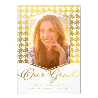 Faux Gold Houndstooth Photo Graduation Invite