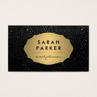 Faux Gold Label with Chic Metallic Dot Pattern Business Card