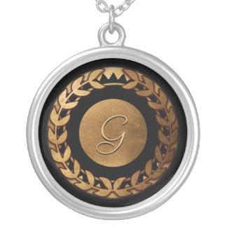 Faux Gold Laurel Monogram necklace