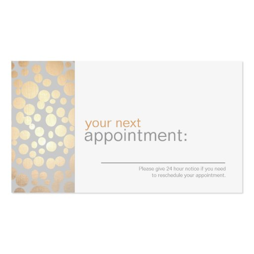 Faux Gold Leaf Circles Gray Appointment Card 1 Business Cards