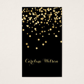 faux gold leaf confetti dots on black business card