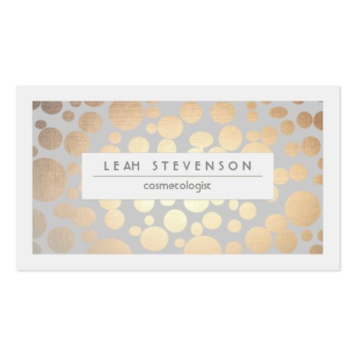 Stylish faux gold foil cosmetologist salon and spa pack of for Business cards for cosmetologist