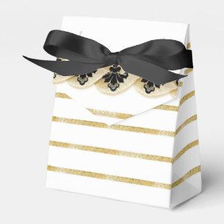 Faux Gold Leaf Damask Striped Favor Box Black Wedding Favour Boxes