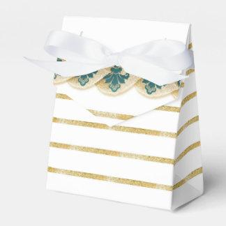 Faux Gold Leaf Damask Striped Favor Box Teal Favour Box