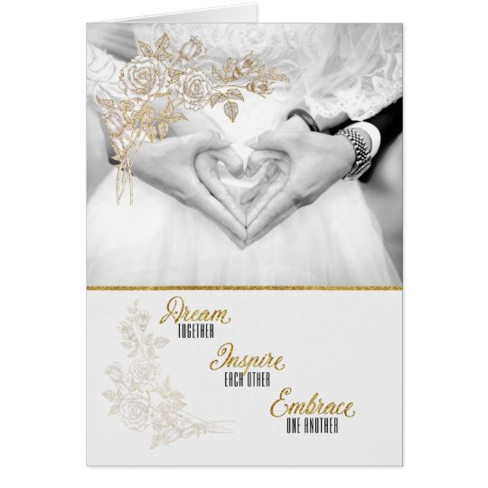 Faux Gold Leaf for Bride and Groom Card