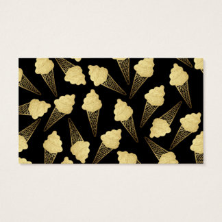 Faux Gold Leaf  Ice Cream Cones on Black Business Card
