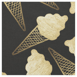 Faux Gold Leaf  Ice Cream Cones on Black Fabric