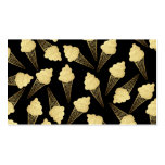 Faux Gold Leaf  Ice Cream Cones on Black Pack Of Standard Business Cards