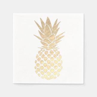 faux gold leaf look pineapple disposable serviette