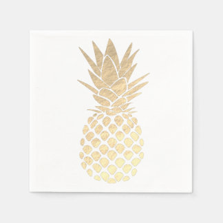 faux gold leaf look pineapple paper napkin