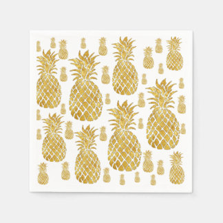 faux gold leaf look pineapples disposable napkins