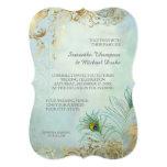 Faux Gold Leaf Peacock Feathers Elegant Wedding 13 Cm X 18 Cm Invitation Card