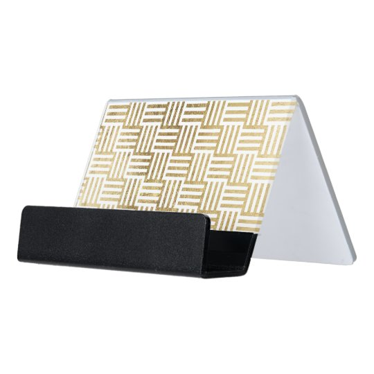 Faux Gold Leaf Striped Check Pattern Desk Business