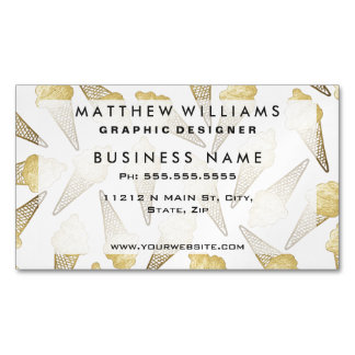 Faux Gold Leaf Summer Ice Cream Cones Magnetic Business Cards