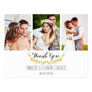 Faux Gold Leaf Wedding Photos Thank You Postcard