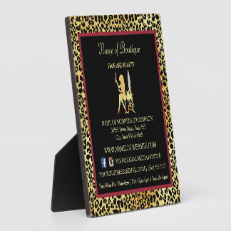 FAUX Gold Leopard Hair Boutique Information Sign Plaque
