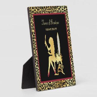 FAUX Gold Leopard Print Woman Hair Boutique Sign Plaque