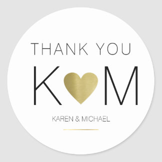 faux gold love heart + couple initials, thank you round sticker