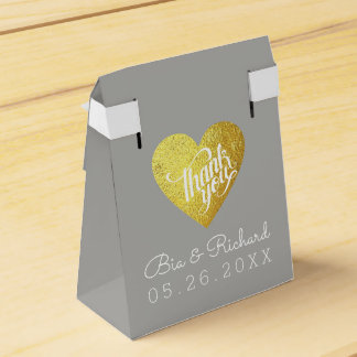 faux gold love heart, thank you wedding favour box