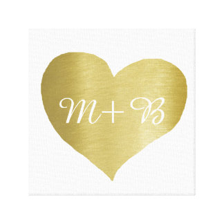 faux gold love heart with couple initials canvas print