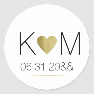 faux gold love heart with couple initials on white classic round sticker