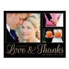Faux Gold Love Thanks Wedding 3 Photo Postcard