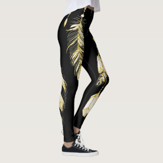 *~* Faux Gold Luxe Feathers & Crystals Chic Trendy Leggings