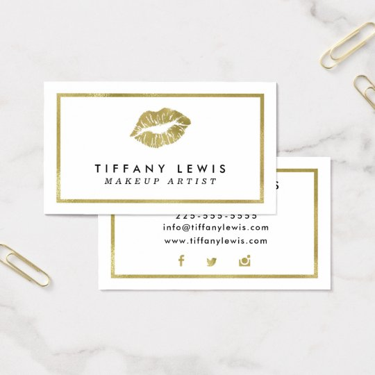 Faux Gold Makeup Artist Business Cards