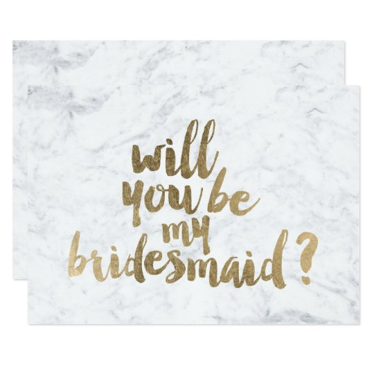Faux gold marble Will you be my Bridesmaid