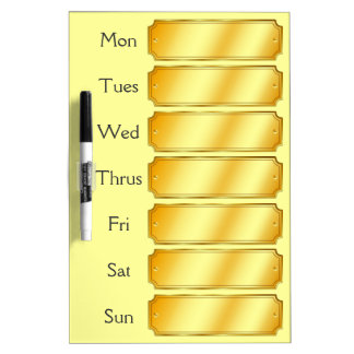 Faux Gold Metallic Sheen Color Weekly Appointment Dry Erase Board