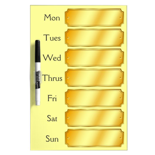 Faux Gold Metallic Sheen Colour Weekly Appointment Dry Erase Board