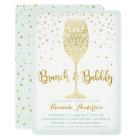 Faux Gold & Mint Brunch & Bubbly Bridal Shower Card