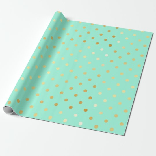 faux gold mint polka dots wrapping paper