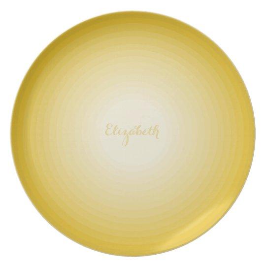 Faux Gold Modern Elegant Custom Name Sunny Yellow Plate