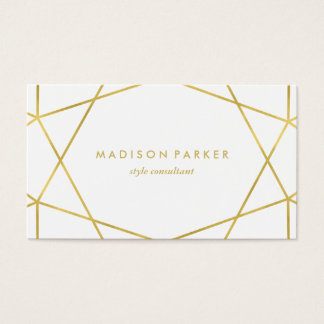 Faux Gold Modern Geometric on White Business Card